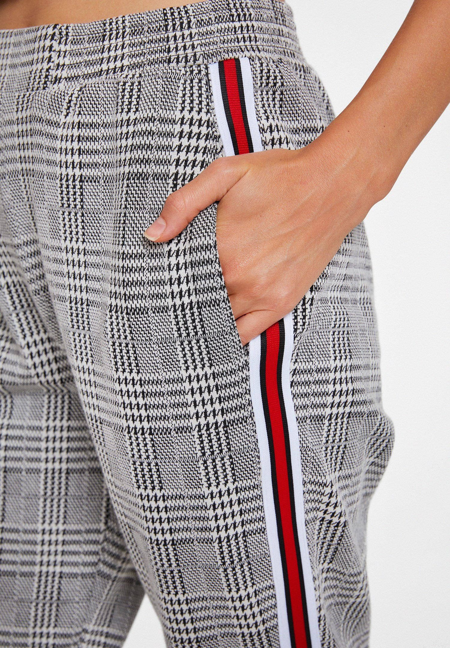 Women Mixed Checked Jogging Trousers with Stripe Detail