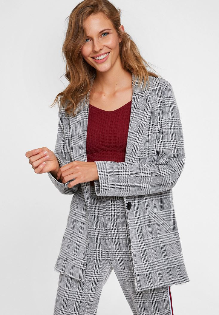 Mixed Checked Blazer Jacket