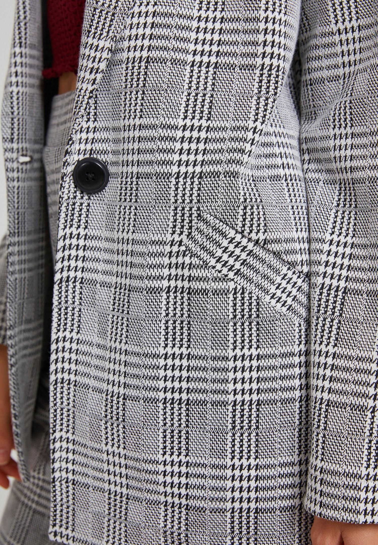 Bayan Çok Renkli Ekose Desenli Blazer Ceket