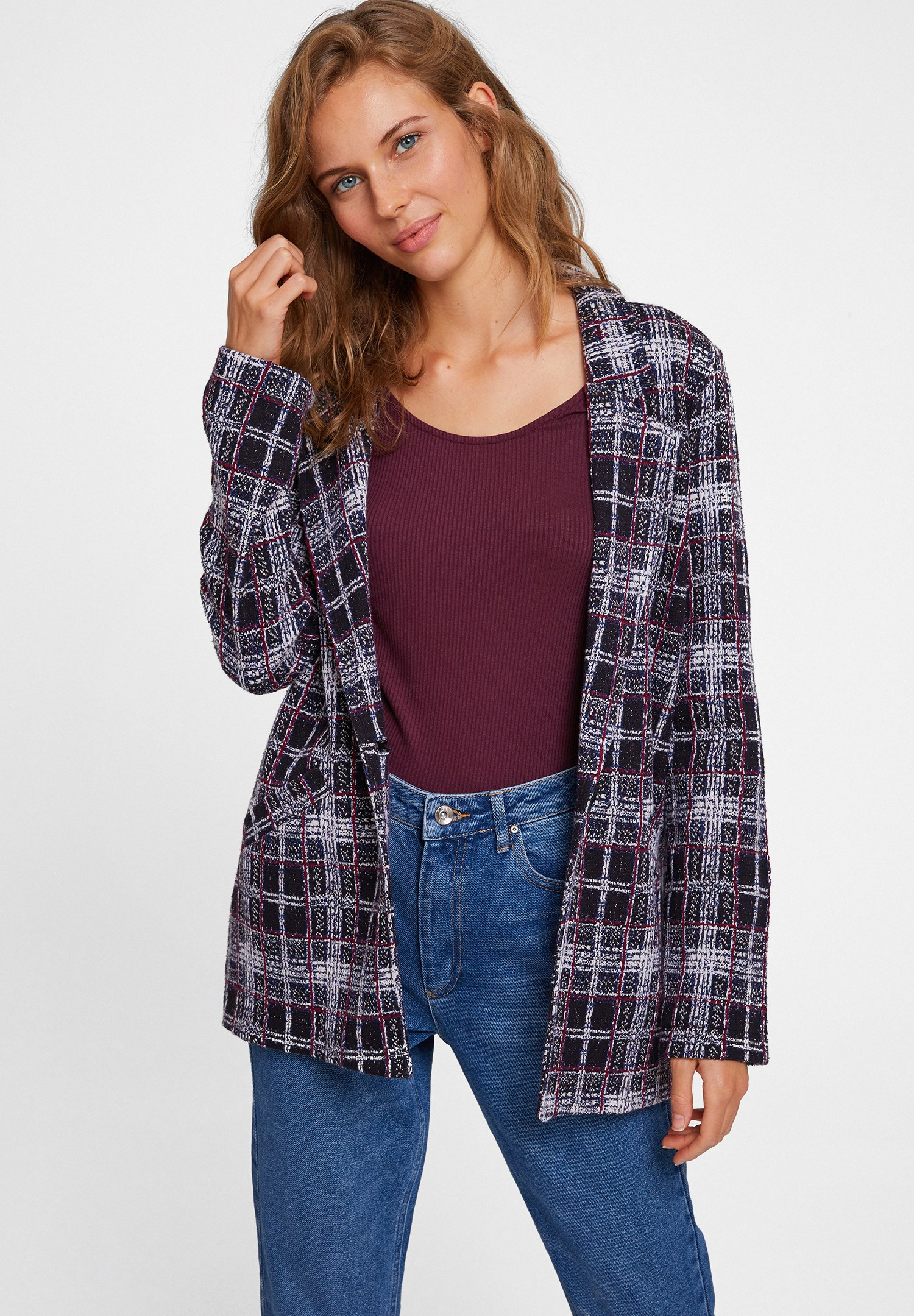 Bayan Çok Renkli Ekose Ceket