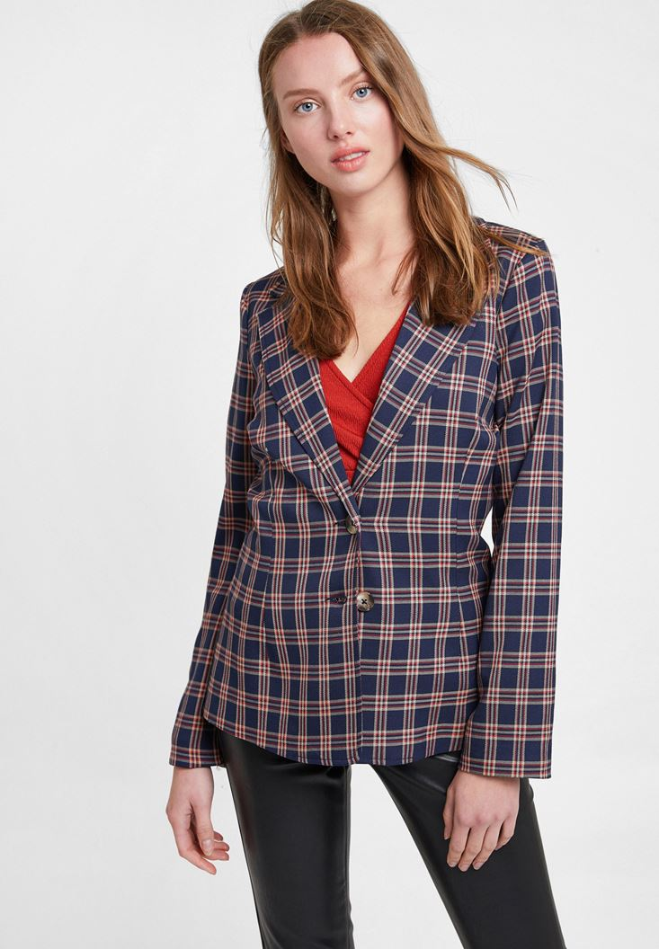 Mixed Check Blazer Jacket