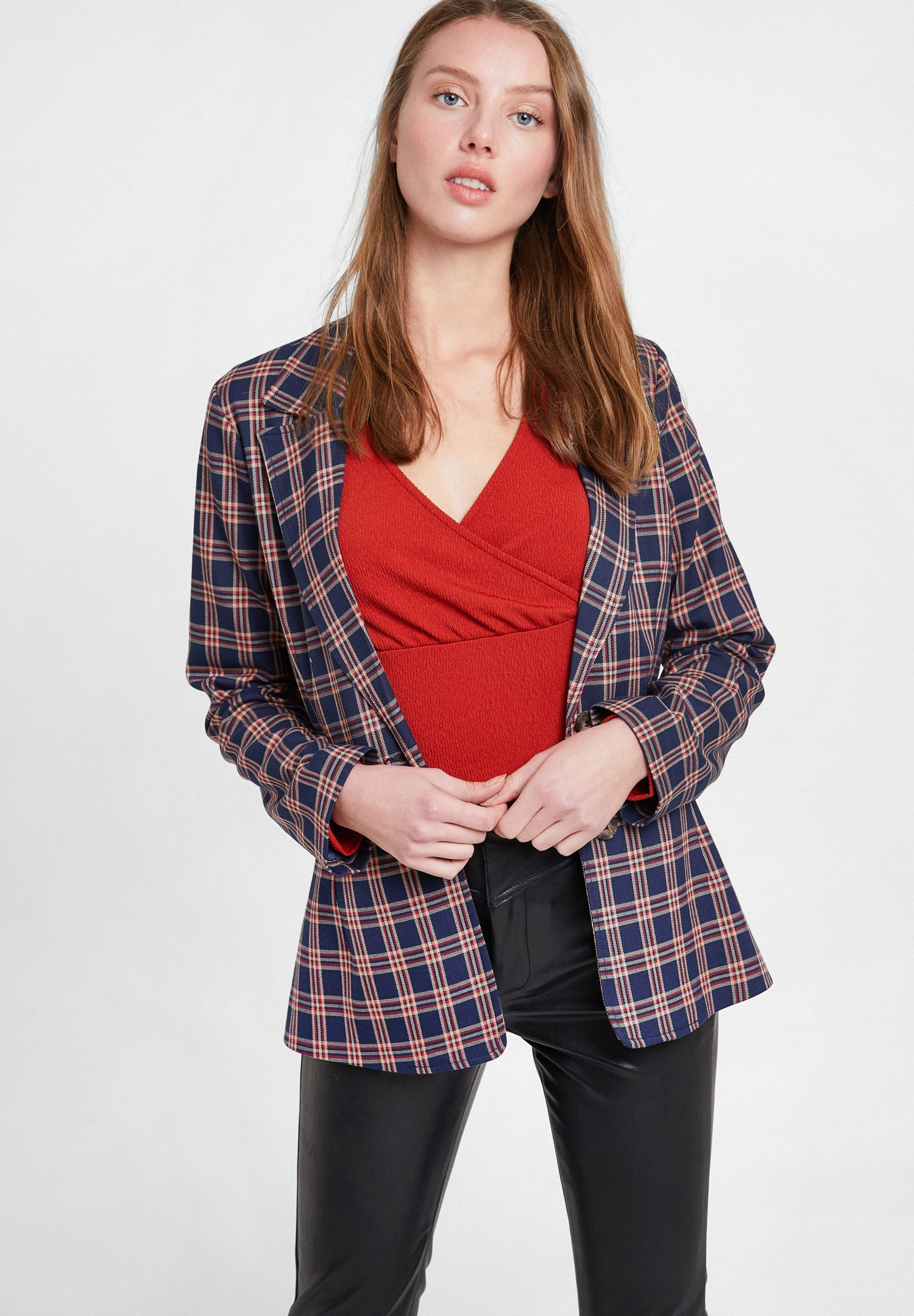 Women Mixed Check Blazer Jacket