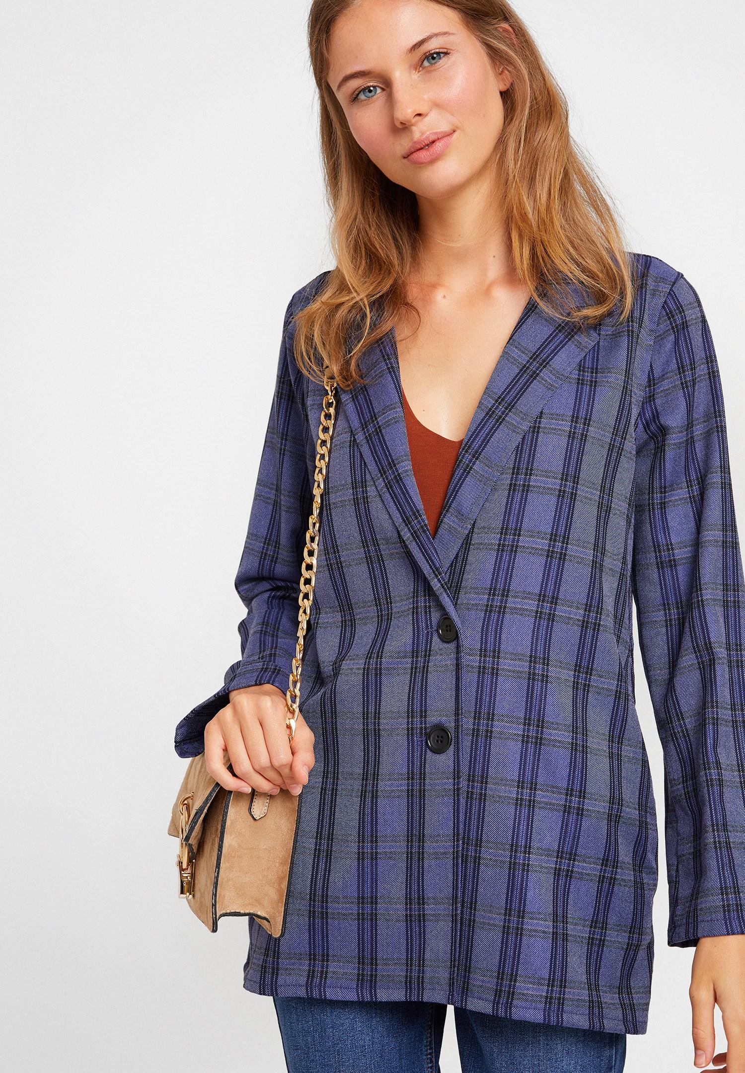 Bayan Lacivert Ekose Desenli Ceket