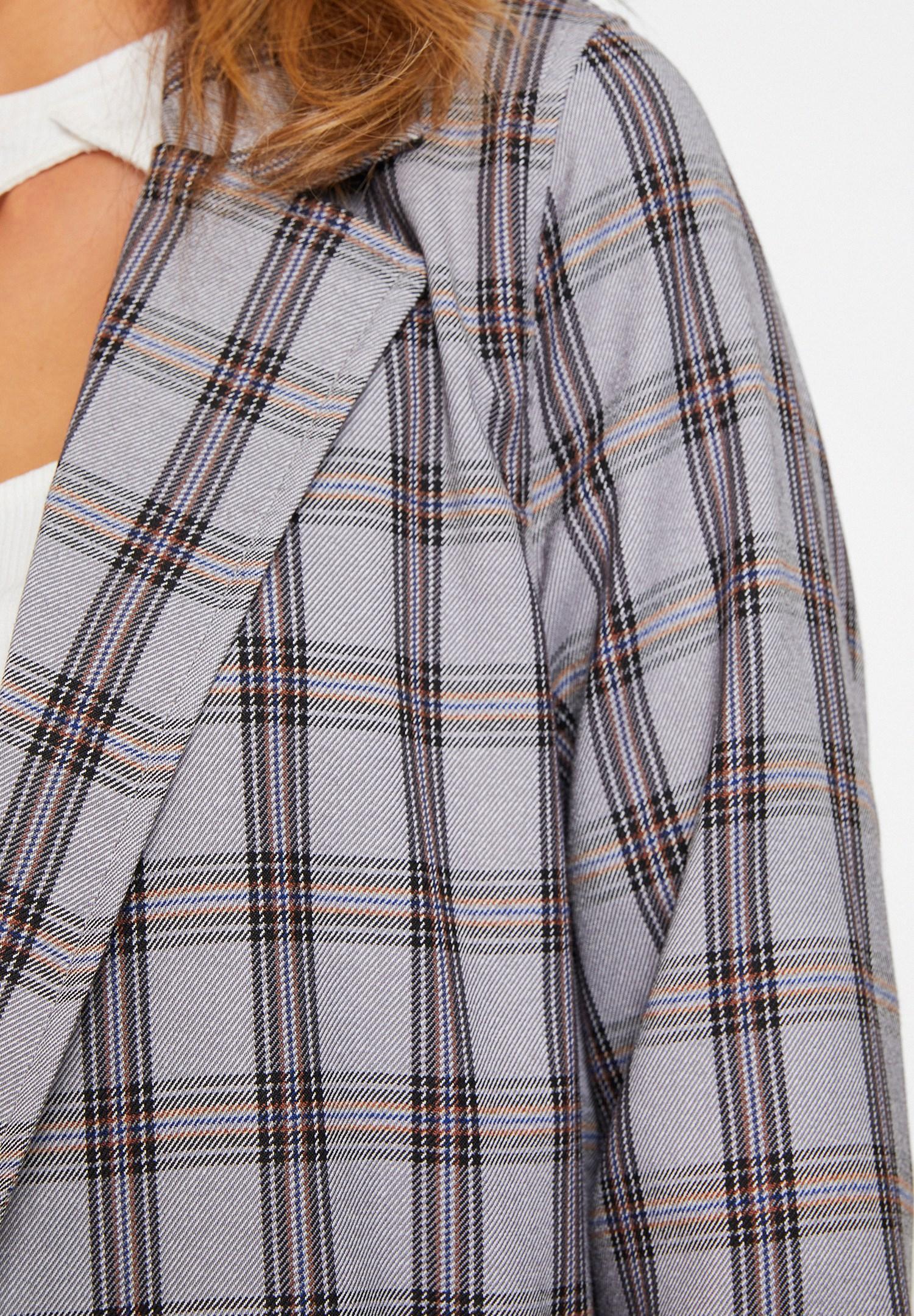Bayan Gri Ekose Desenli Ceket