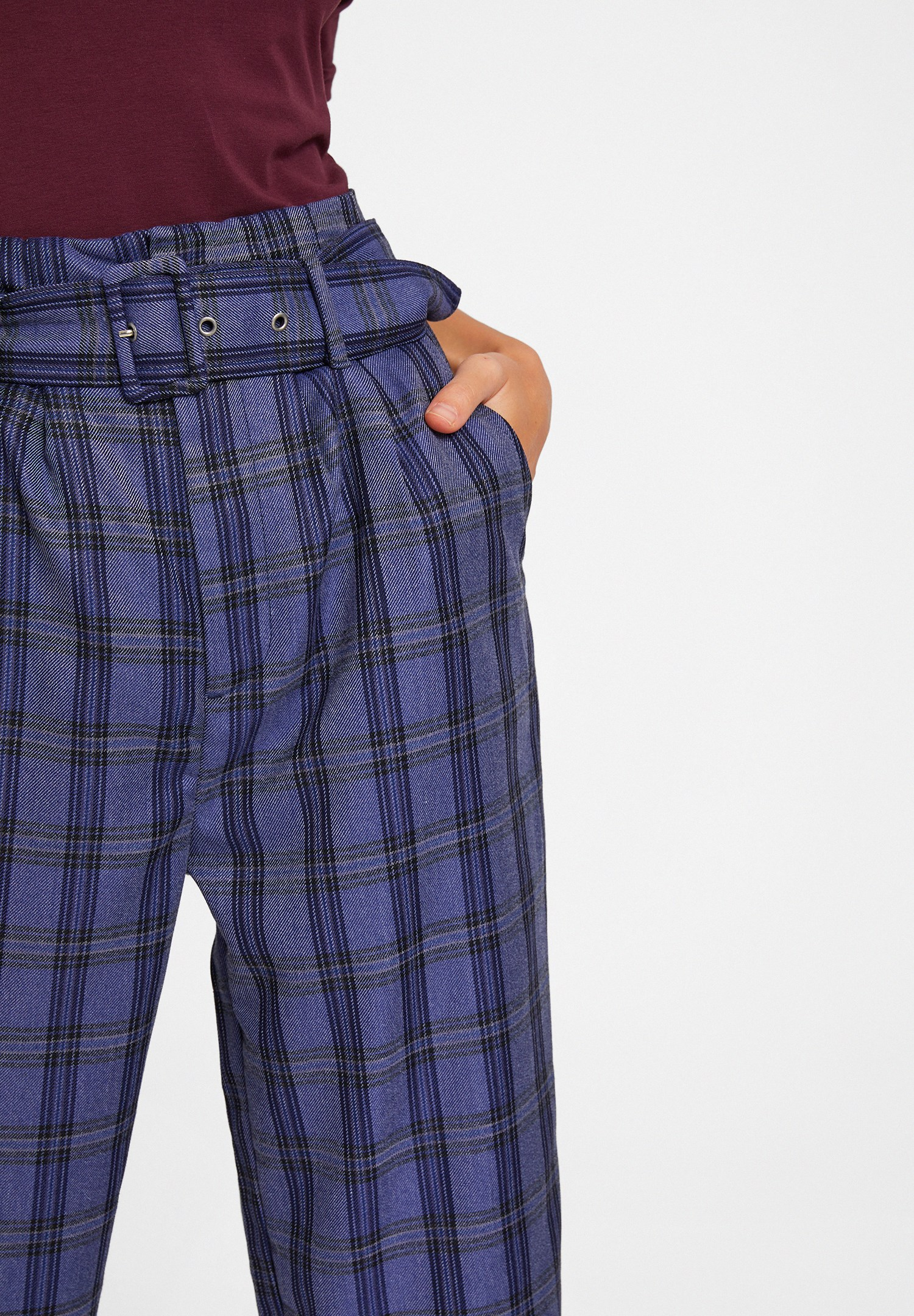 Women Navy Check Trousers