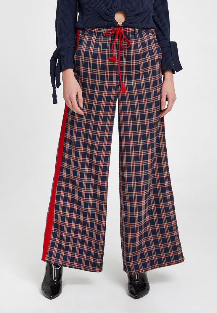 Mixed Check Pants with Line Details