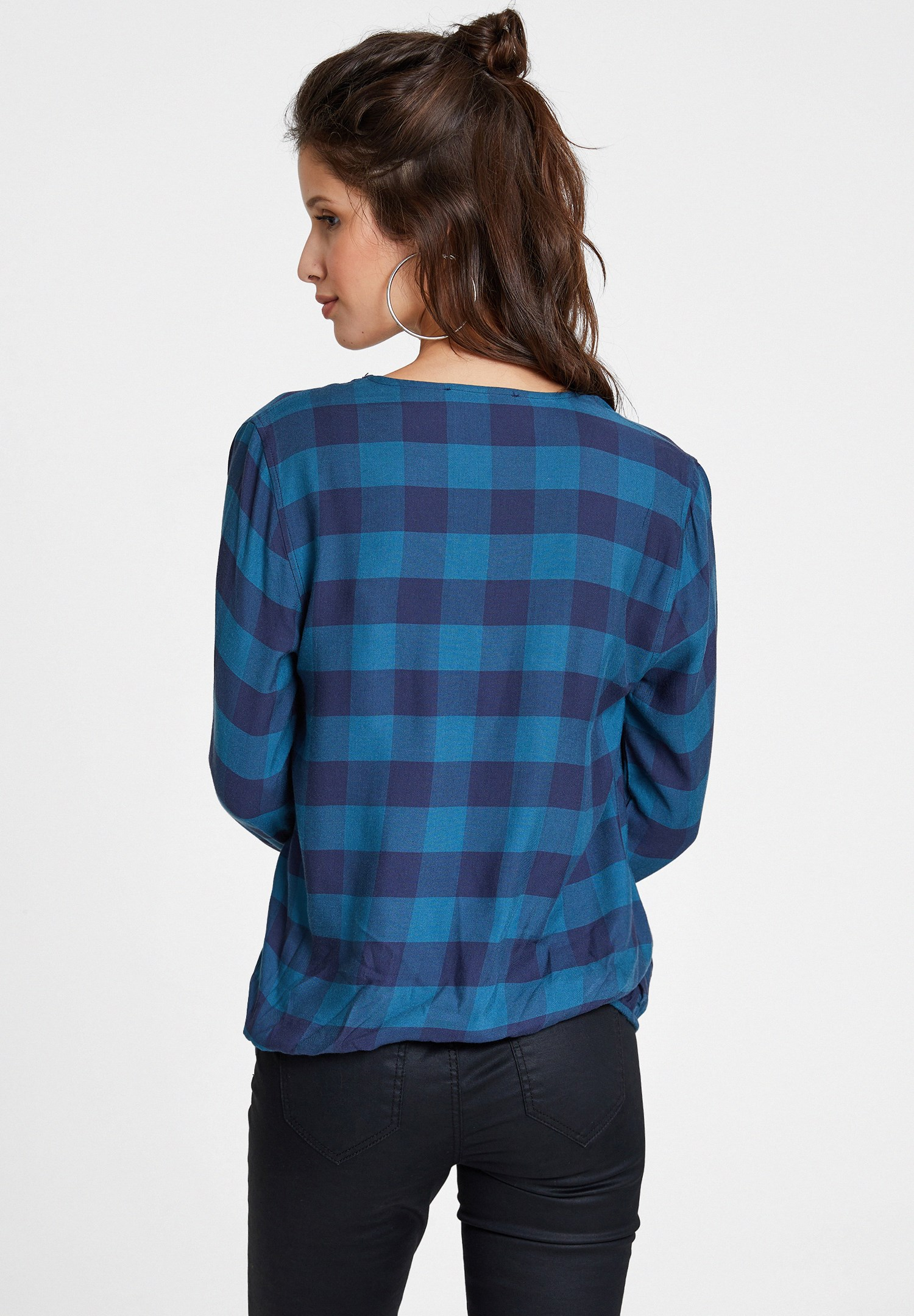 Women Blue Checked Crossover Blouse
