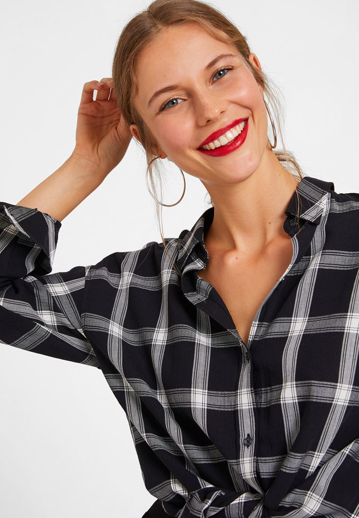 Black Check Shirt with Details