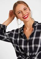 Women Black Check Shirt with Details