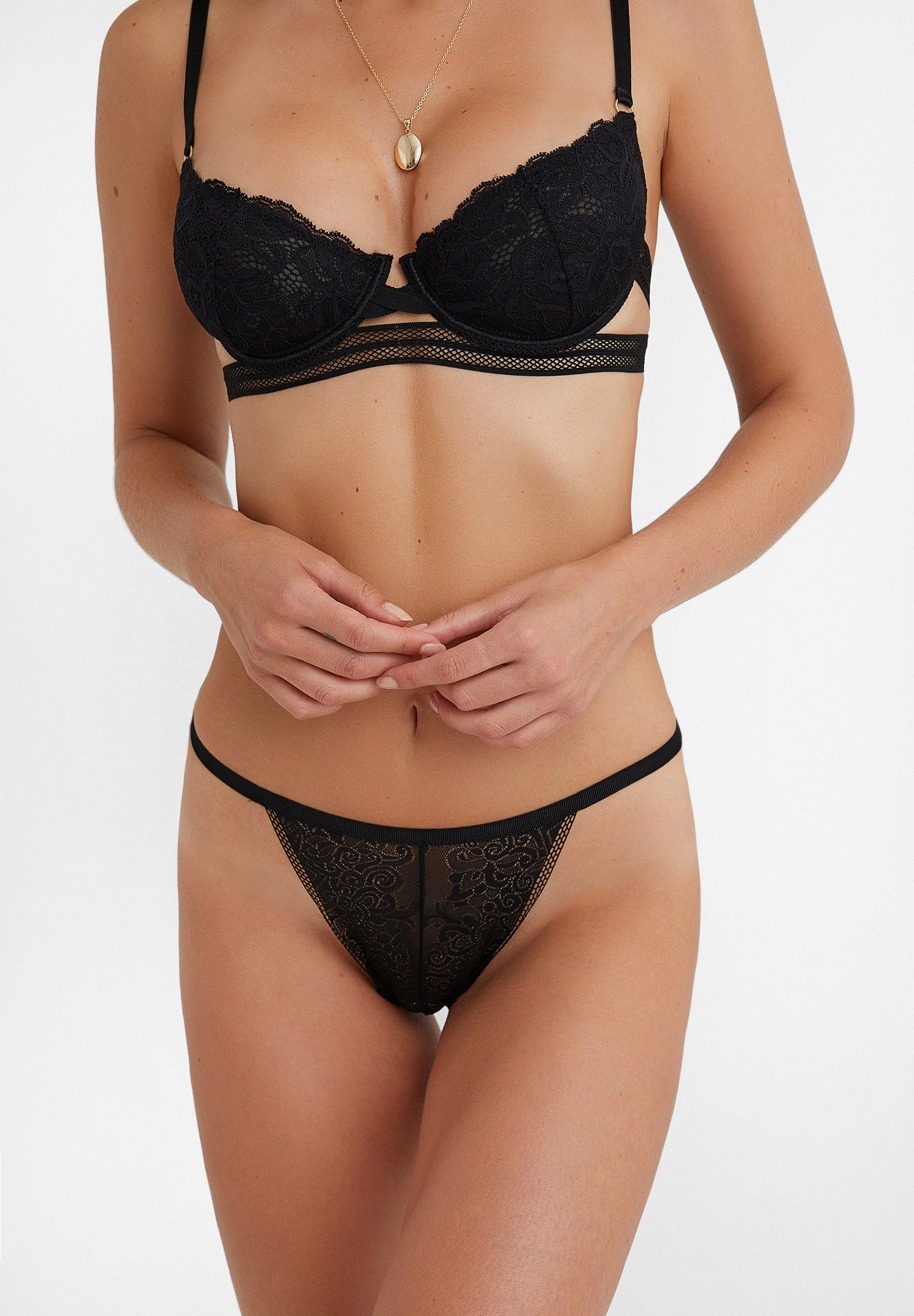 Women Black Lace Panties with Details