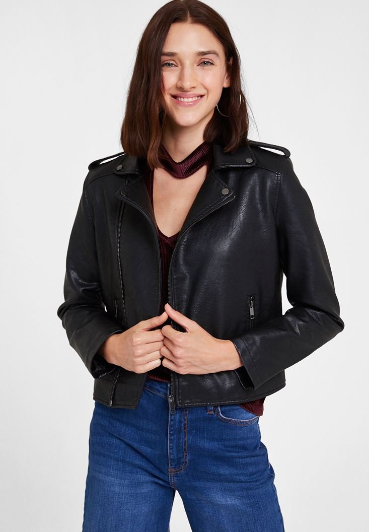 Biker Leather Jacket with Detail