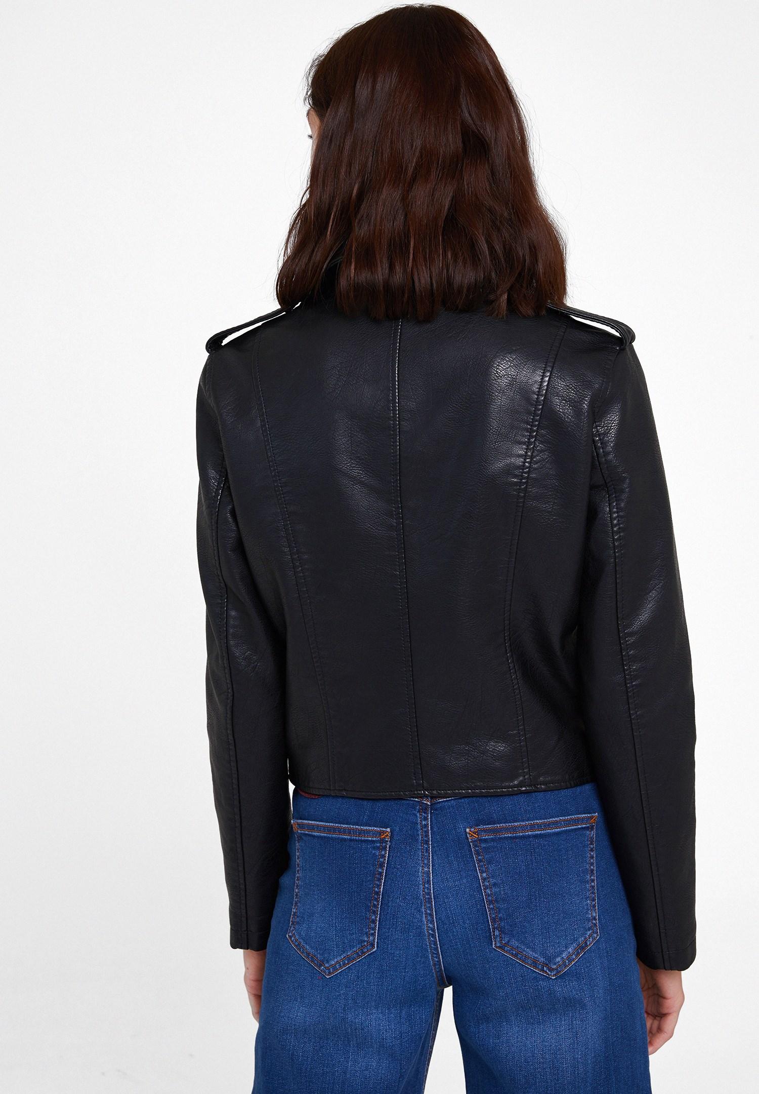 Women Black Biker Leather Jacket with Detail