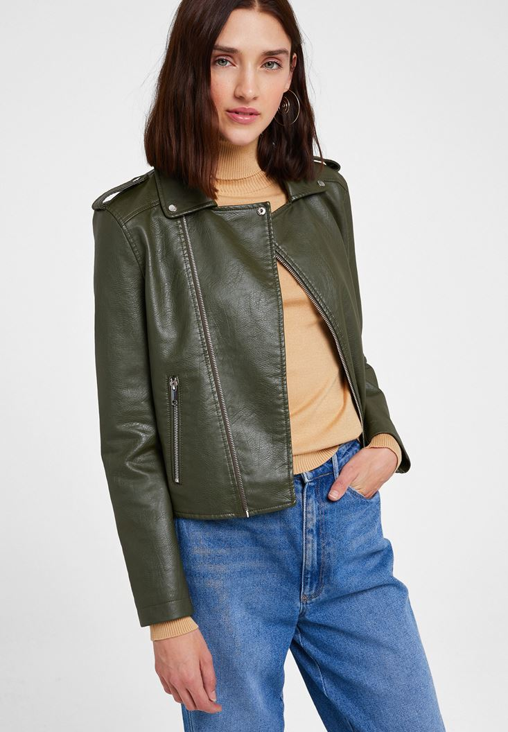 Green Biker Leather Jacket with Detail
