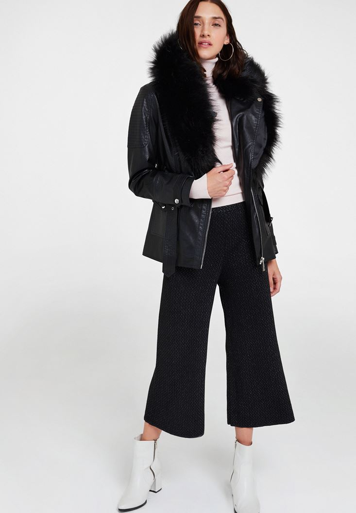Black Leather Jacket with Fake Fur Detail