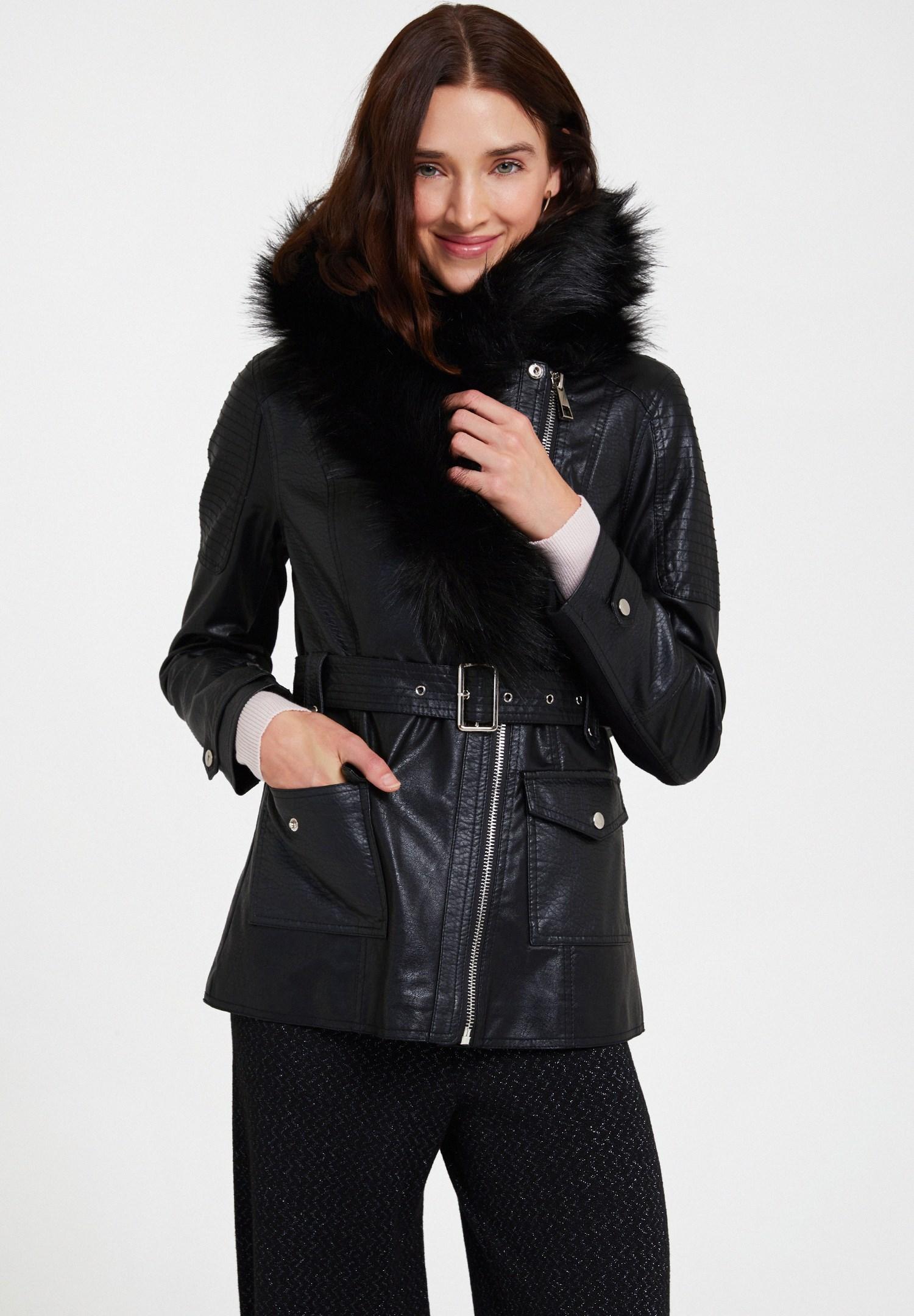 Bayan Siyah Suni Kürk Detaylı Deri Ceket