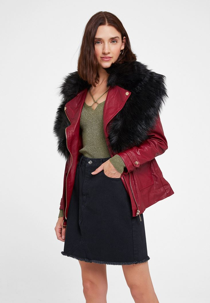 Bordeaux Leather Jacket with Fake Fur Detail