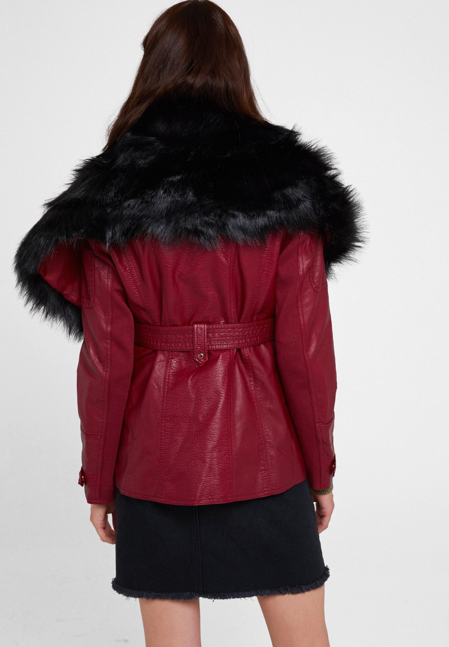 Bayan Bordo Suni Kürk Detaylı Deri Ceket