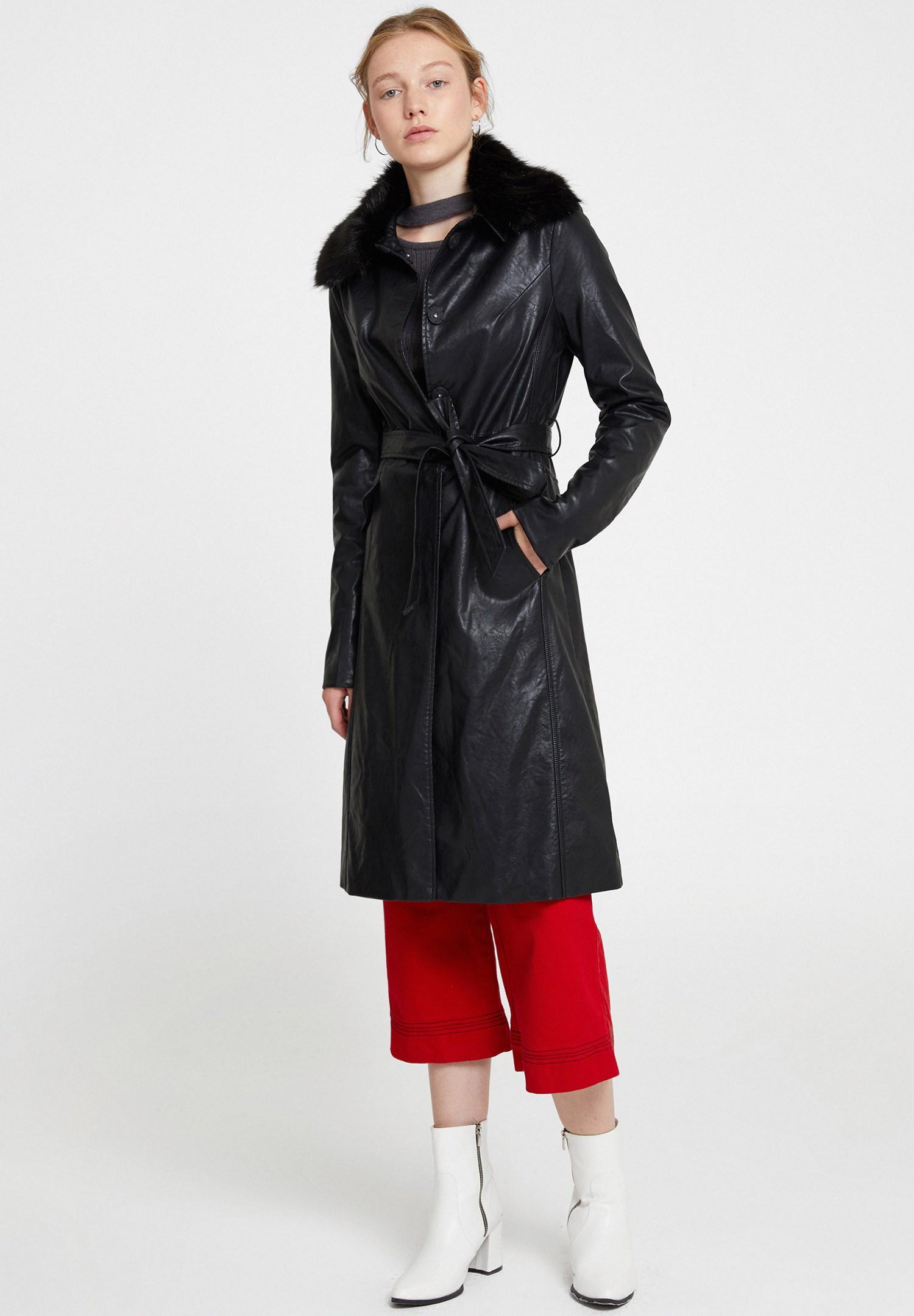 Women Black Leather Jacket with Faux Fur Details