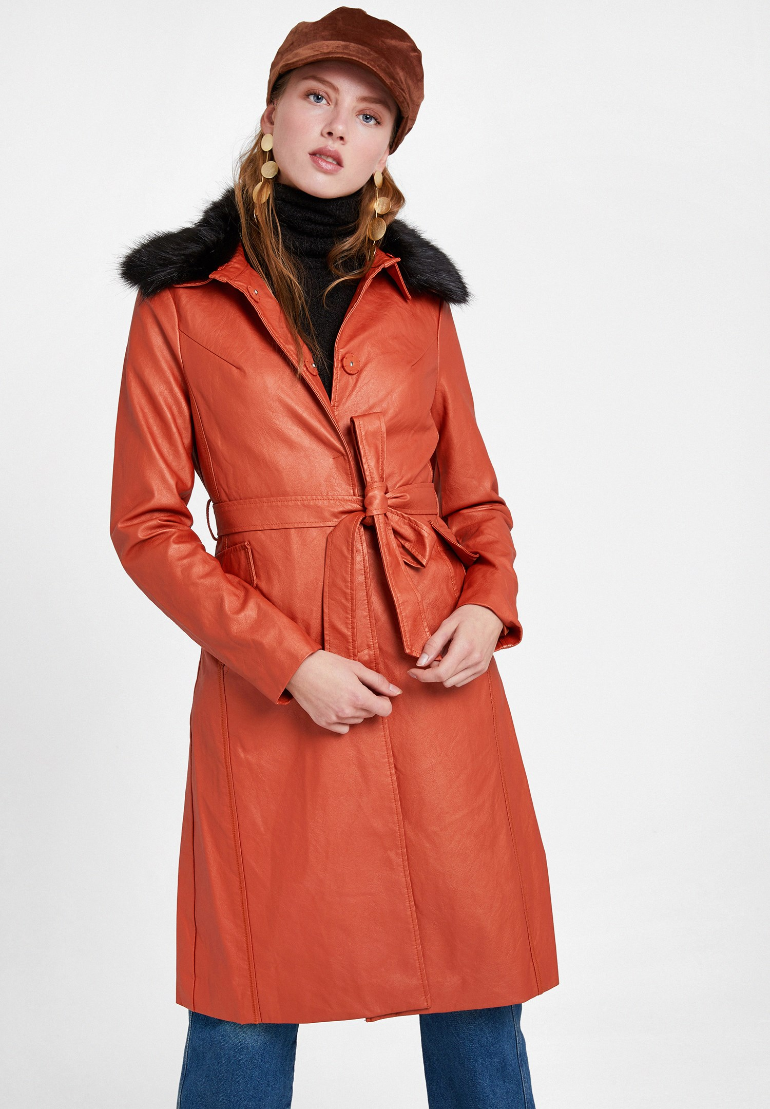 Women Red Leather Jacket with Faux Fur Details