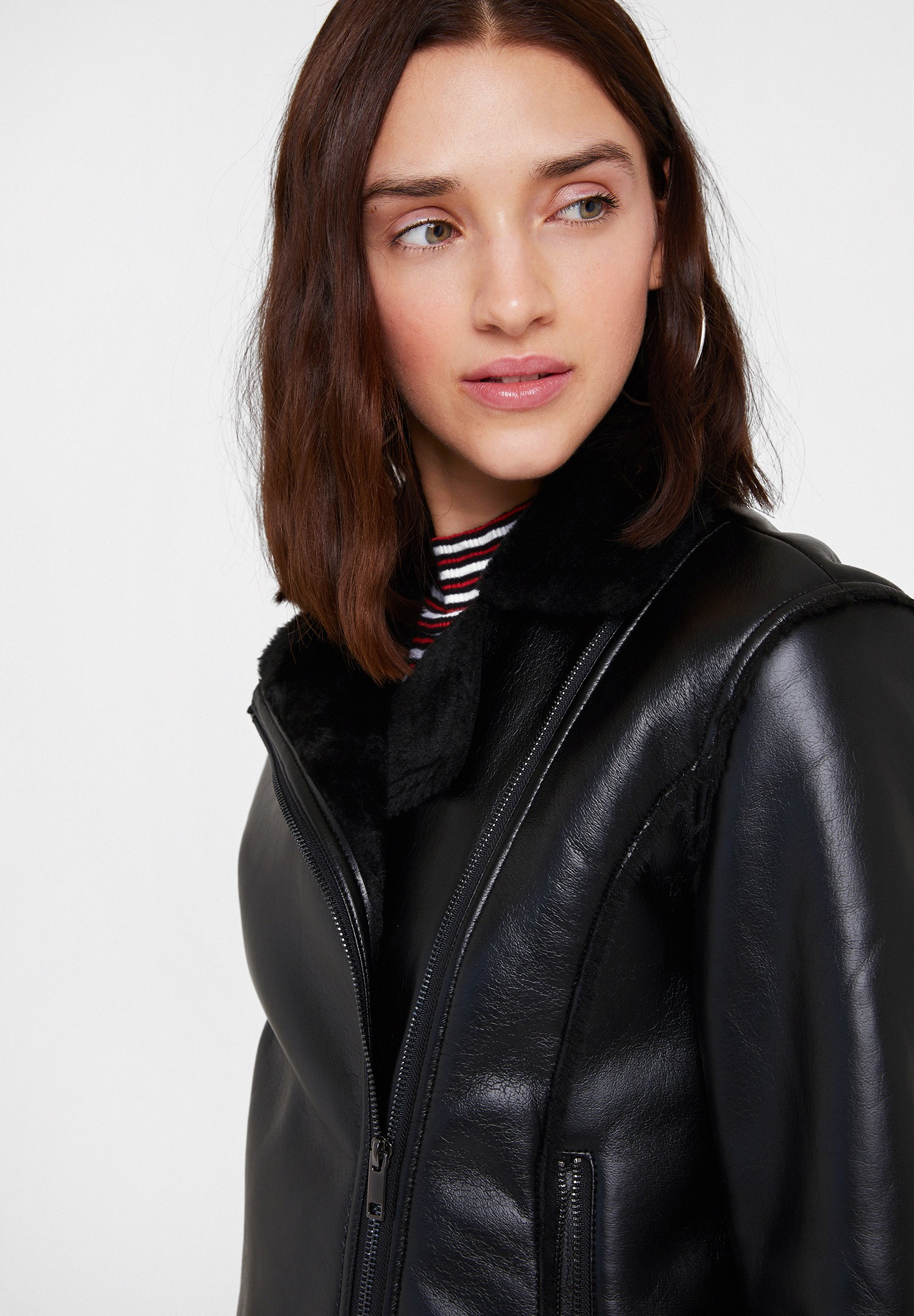 Women Black Faux Shearling Jacket