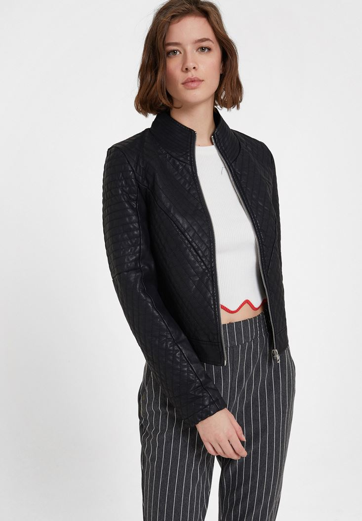 Black Quilted Faux Leather Jacket