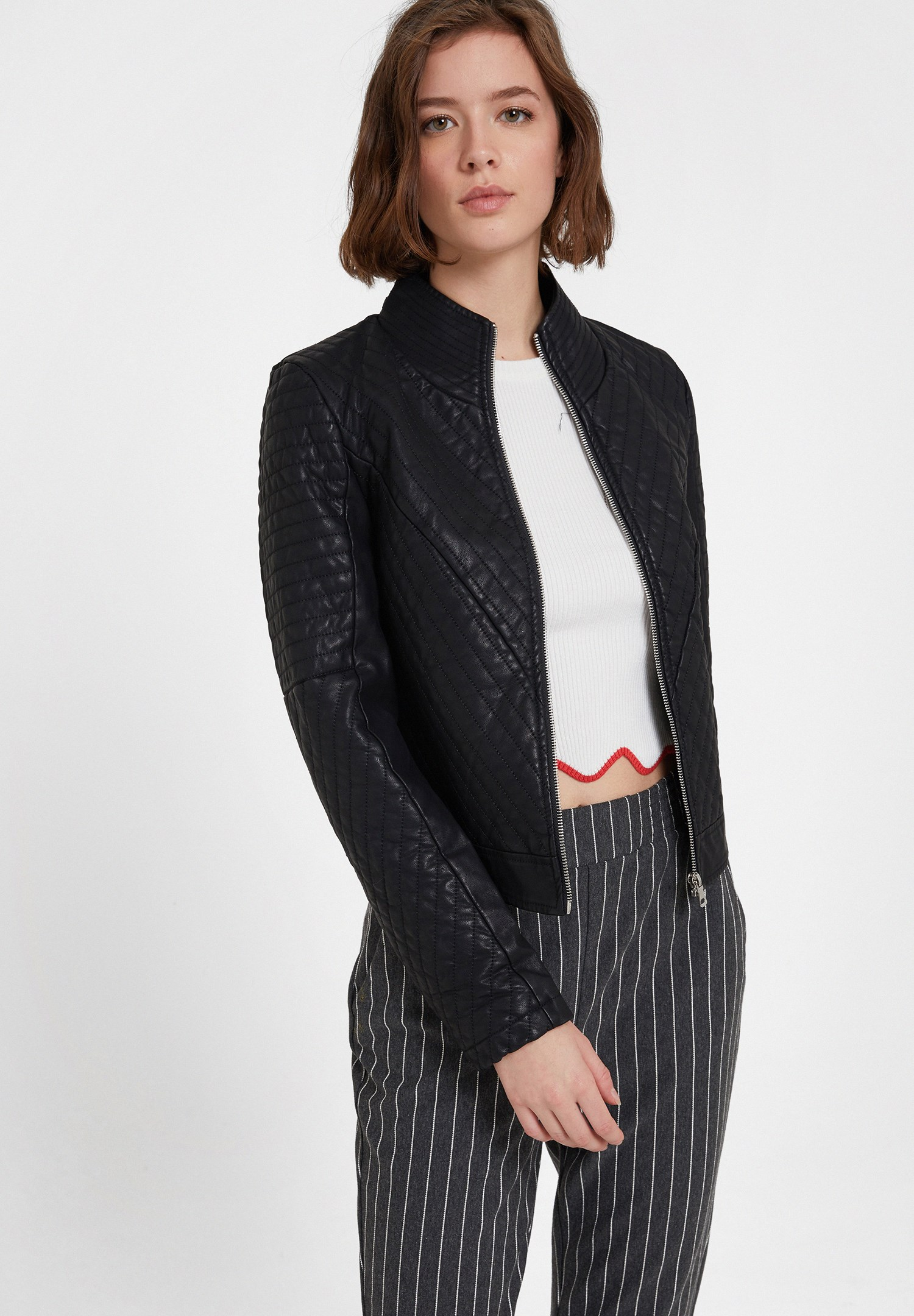 Women Black Quilted Faux Leather Jacket