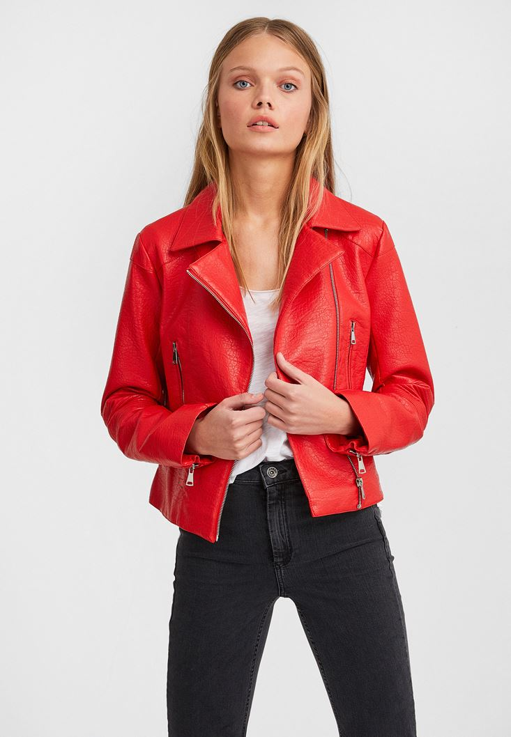 Red Leather Biker Jacket with Zipper