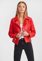 Women Red Leather Biker Jacket with Zipper