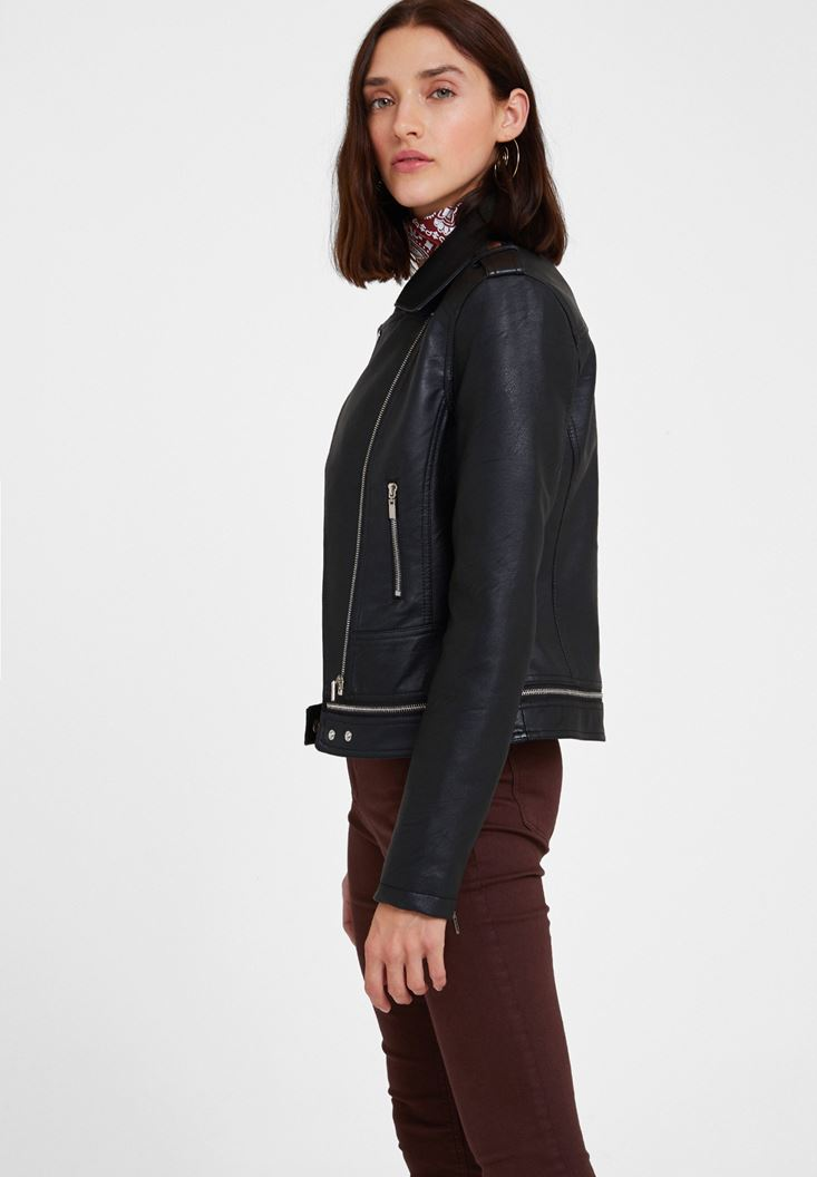 Black Leather Biker Jacket with Zipper Detail