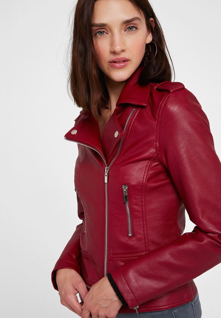 Bordeaux Leather Biker Jacket with Zipper Detail