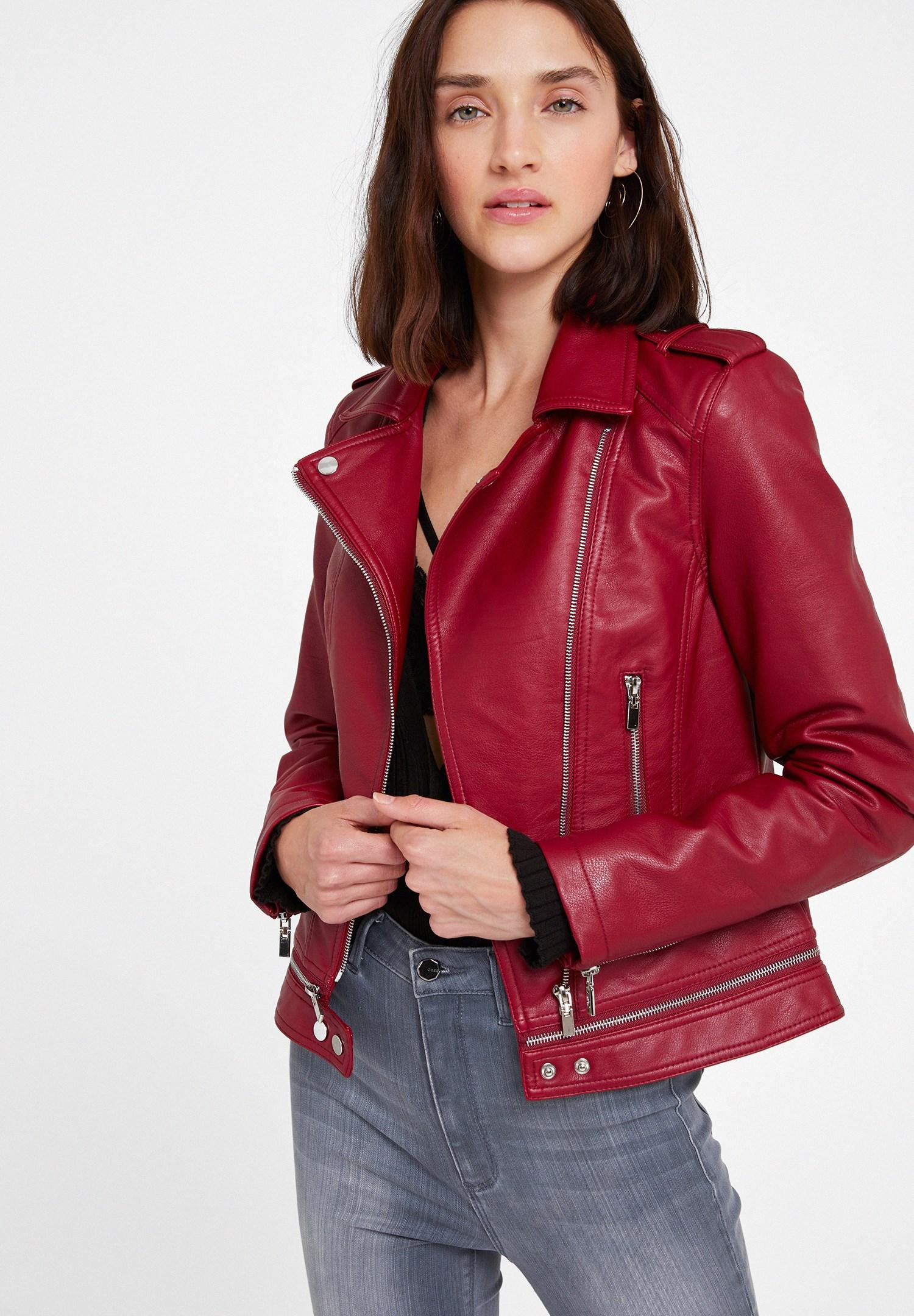 Women Bordeaux Leather Biker Jacket with Zipper Detail