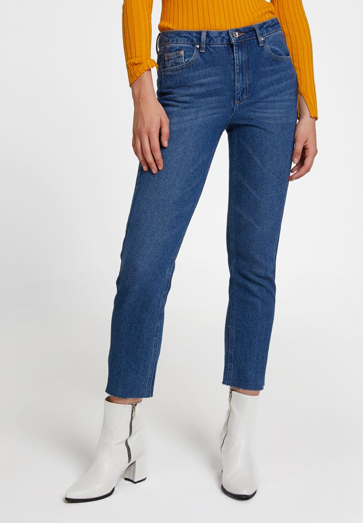 Blue High Rise Denim with Details
