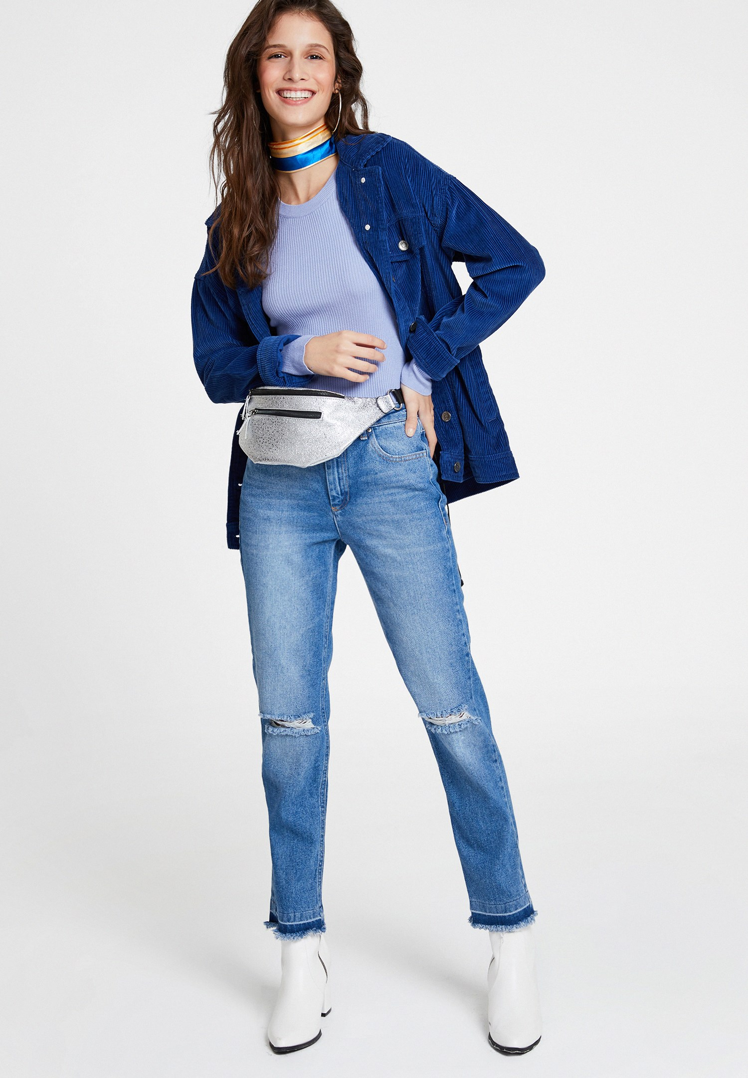 Women Blue High Rise Denim with Details