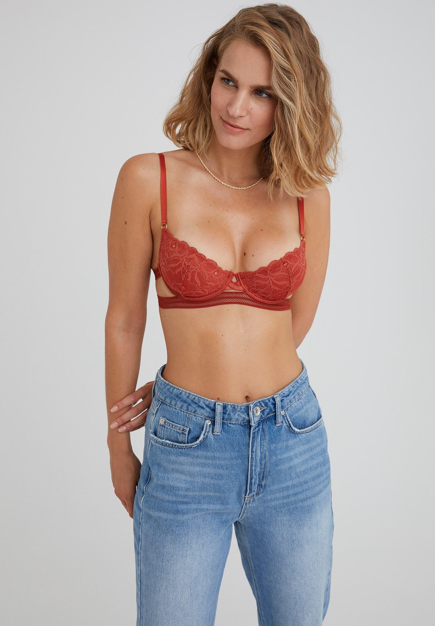 Women Red Thin Strap Bustier