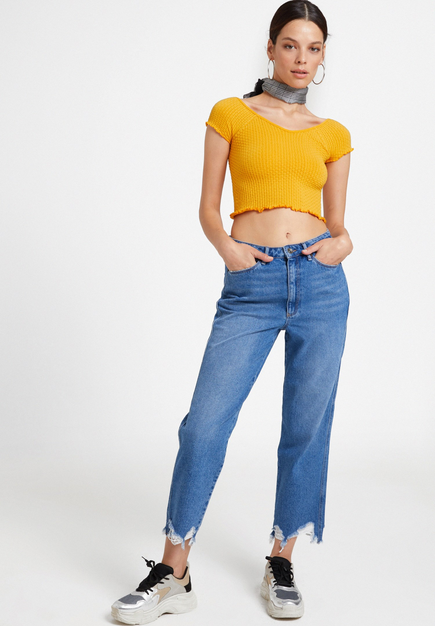 Bayan Turuncu Lastikli Crop Bluz