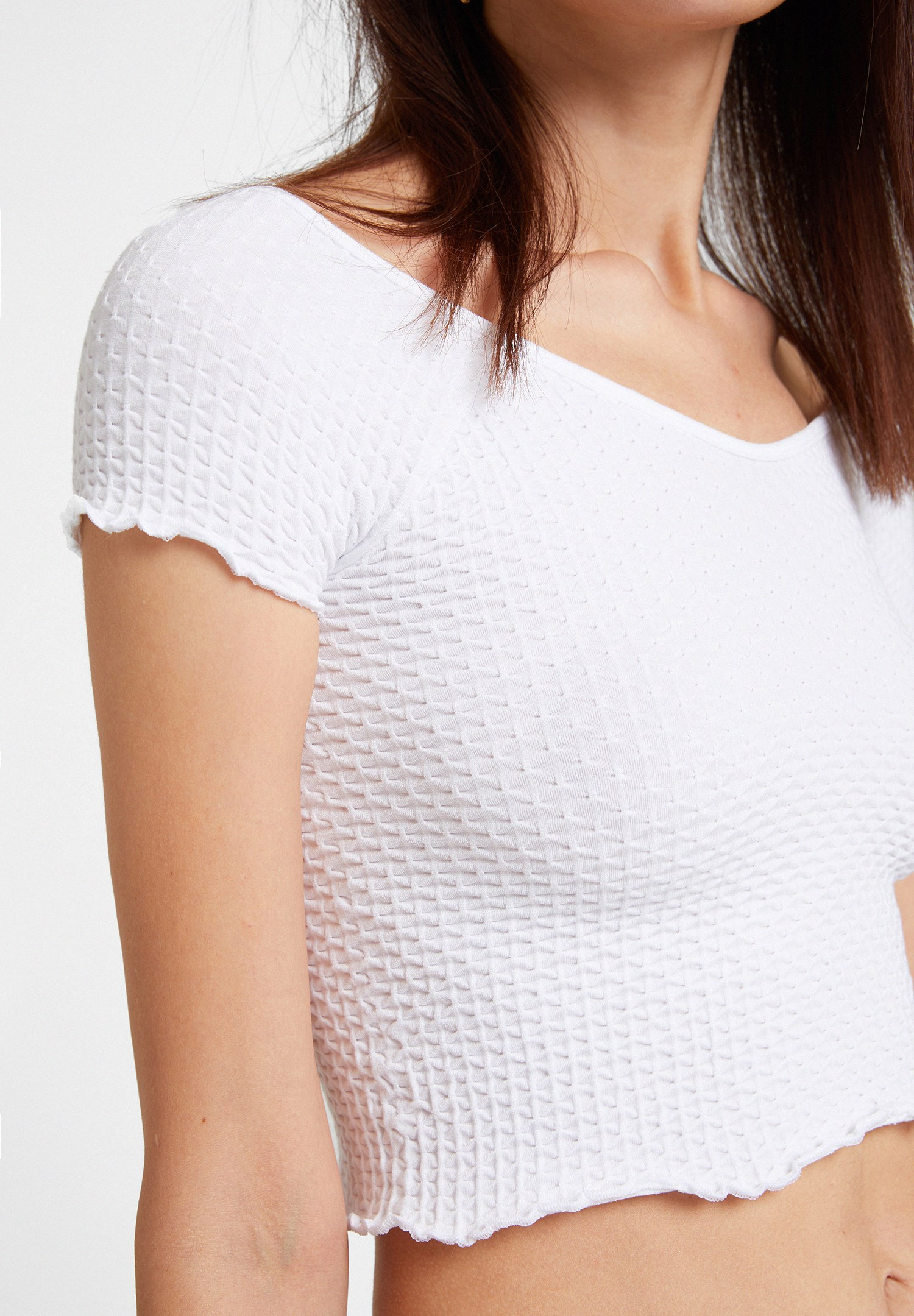 Women White Elasticated Crop Blouse