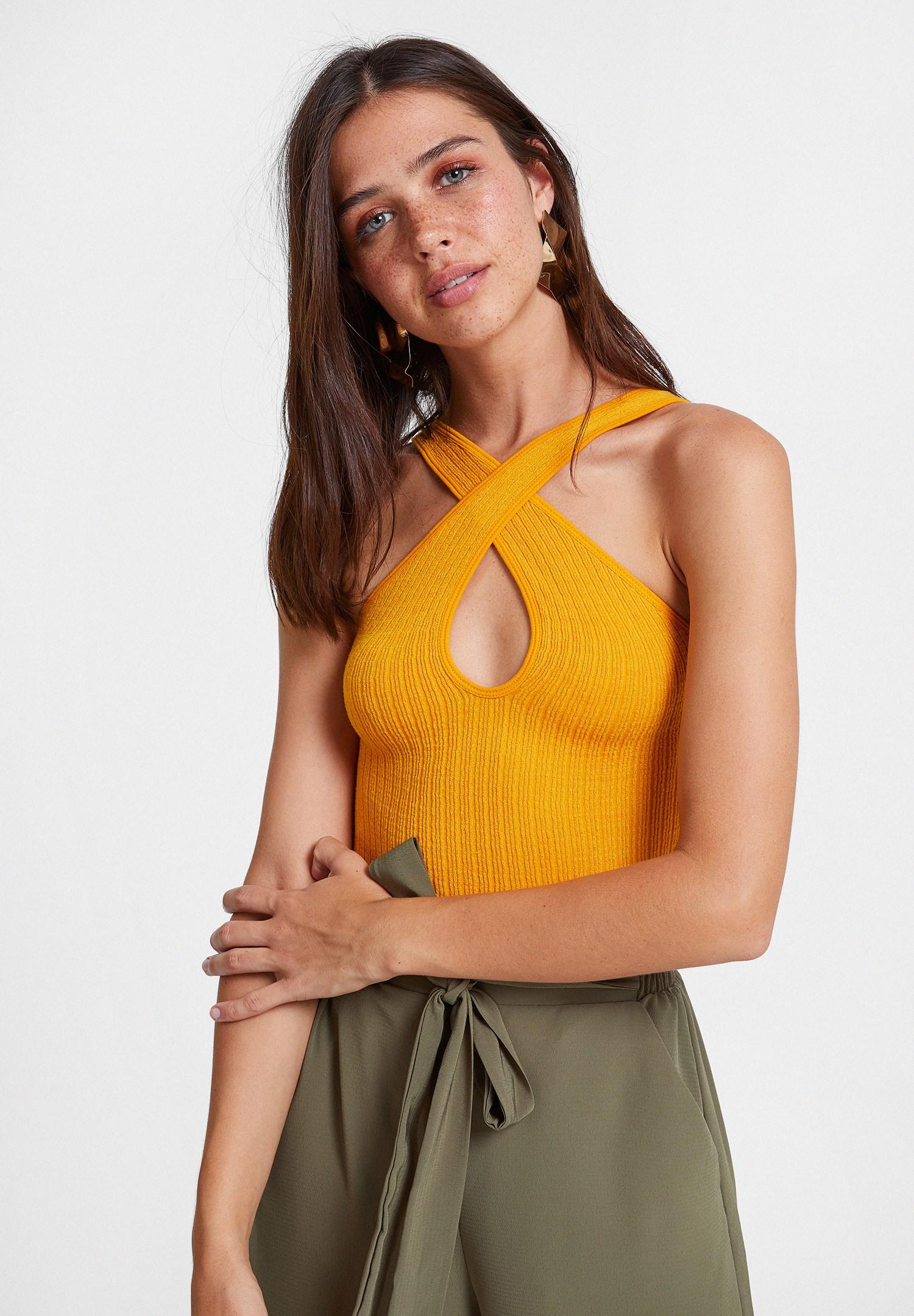 Bayan Çok Renkli Çapraz Askılı Çift Yönlü Bluz