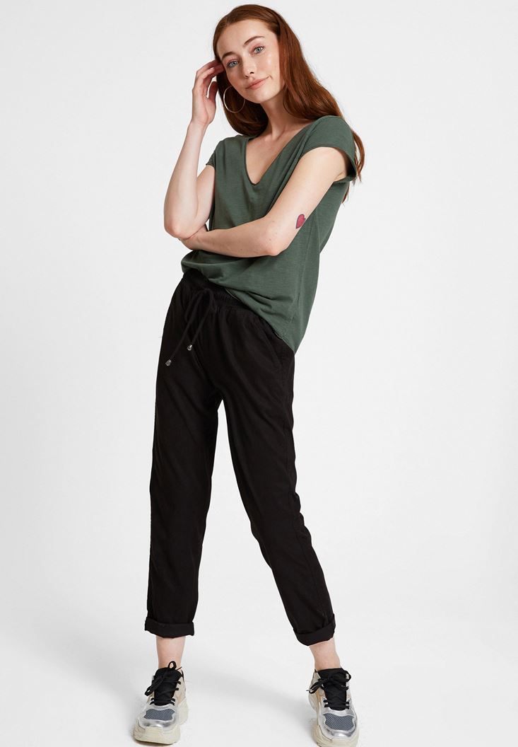 Green Basic T-shirt with V Neck