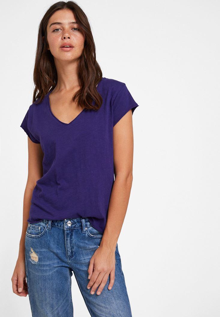 Purple Basic T-shirt with V Neck