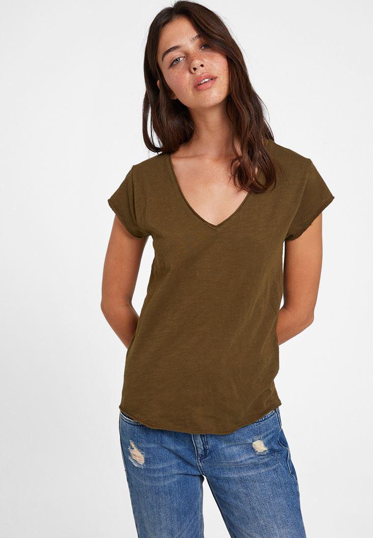 Green Basic T-shirt with V Neck
