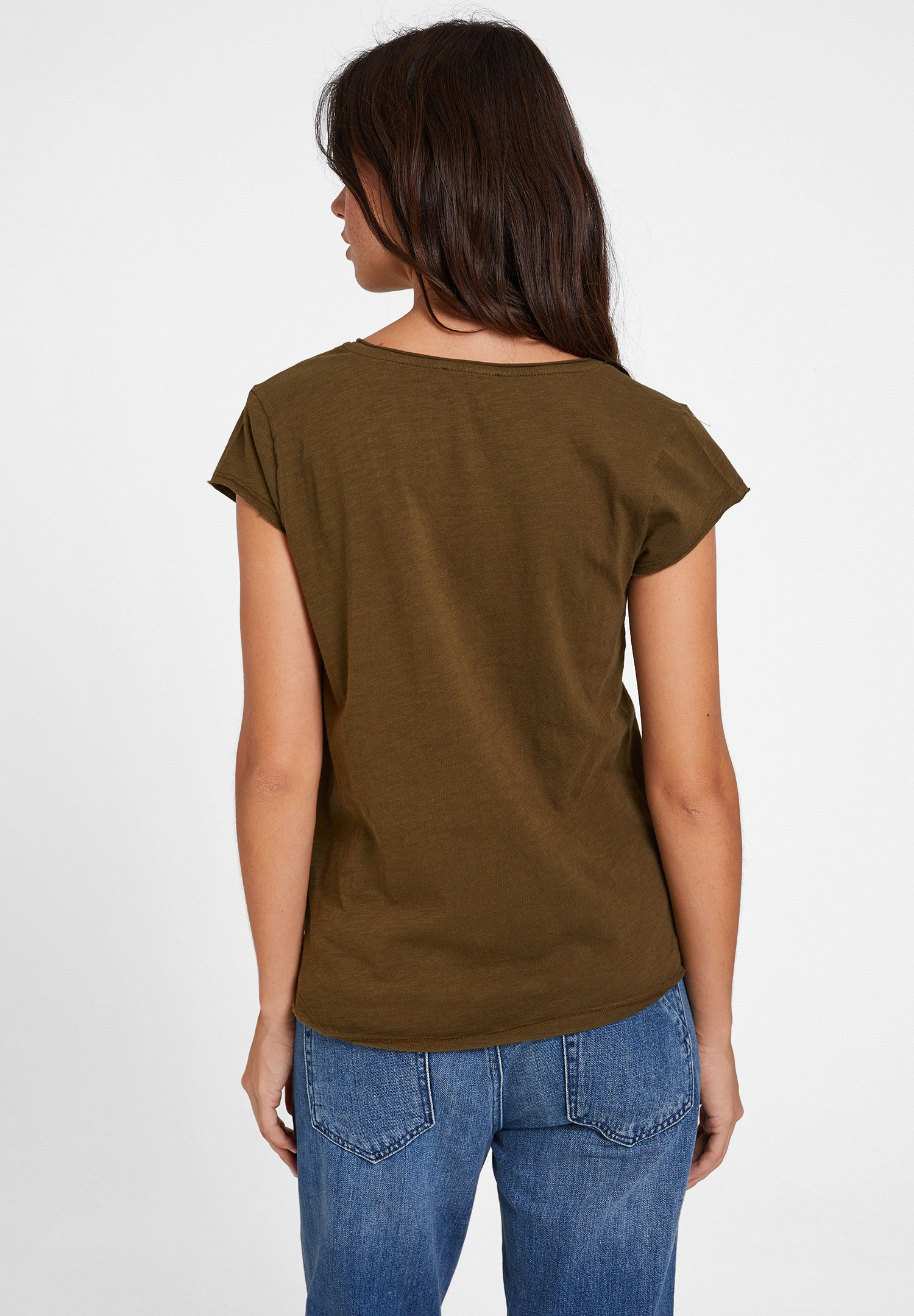 Bayan Yeşil Basic V Yaka Kısa Kollu Tişört