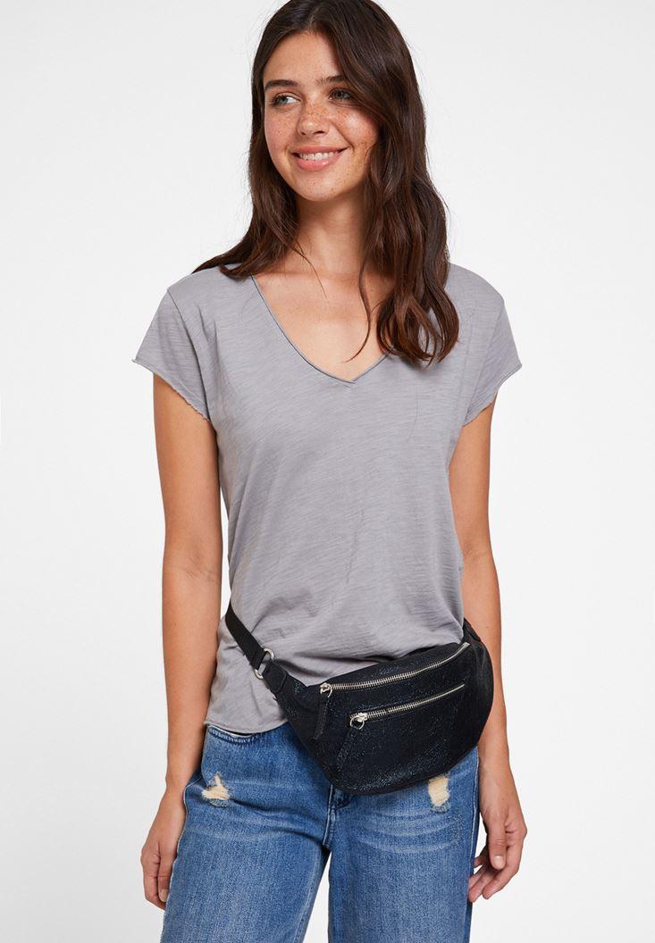 Grey Basic T-shirt with V Neck