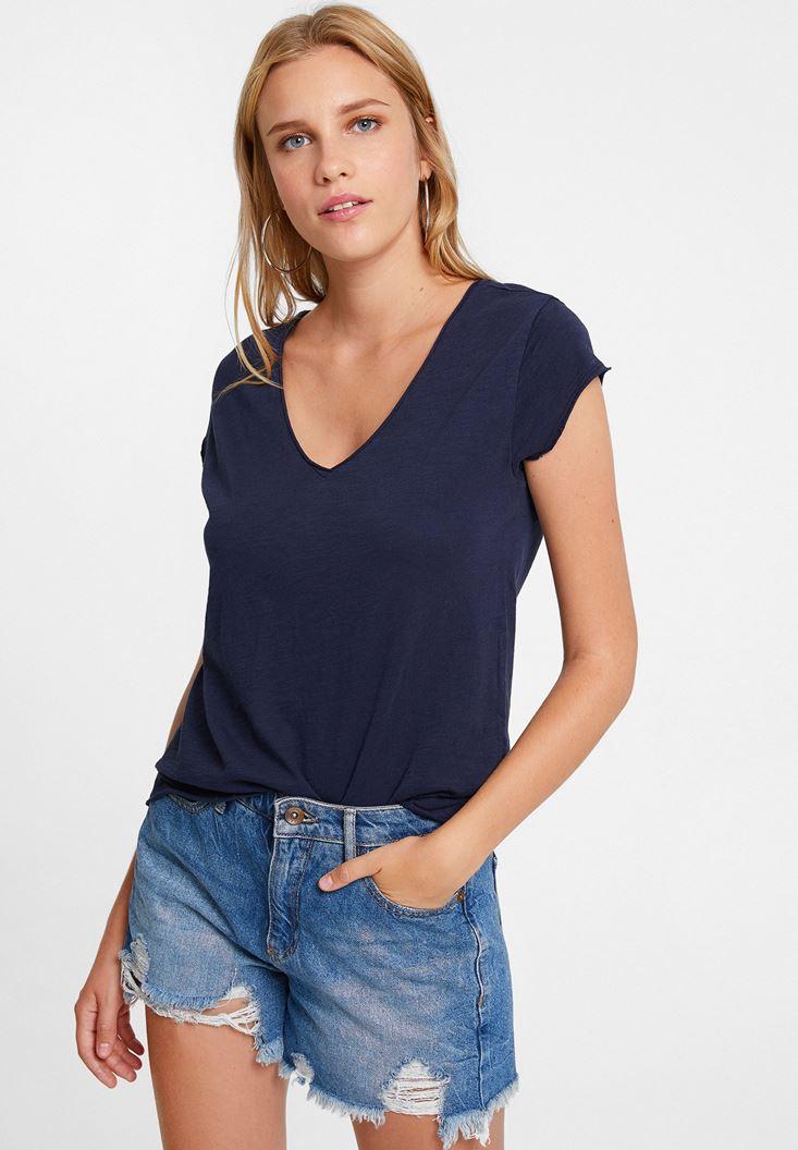 Lacivert Basic V Yaka Kısa Kollu Tişört