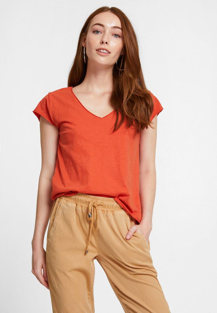 Orange Basic T-shirt with V Neck