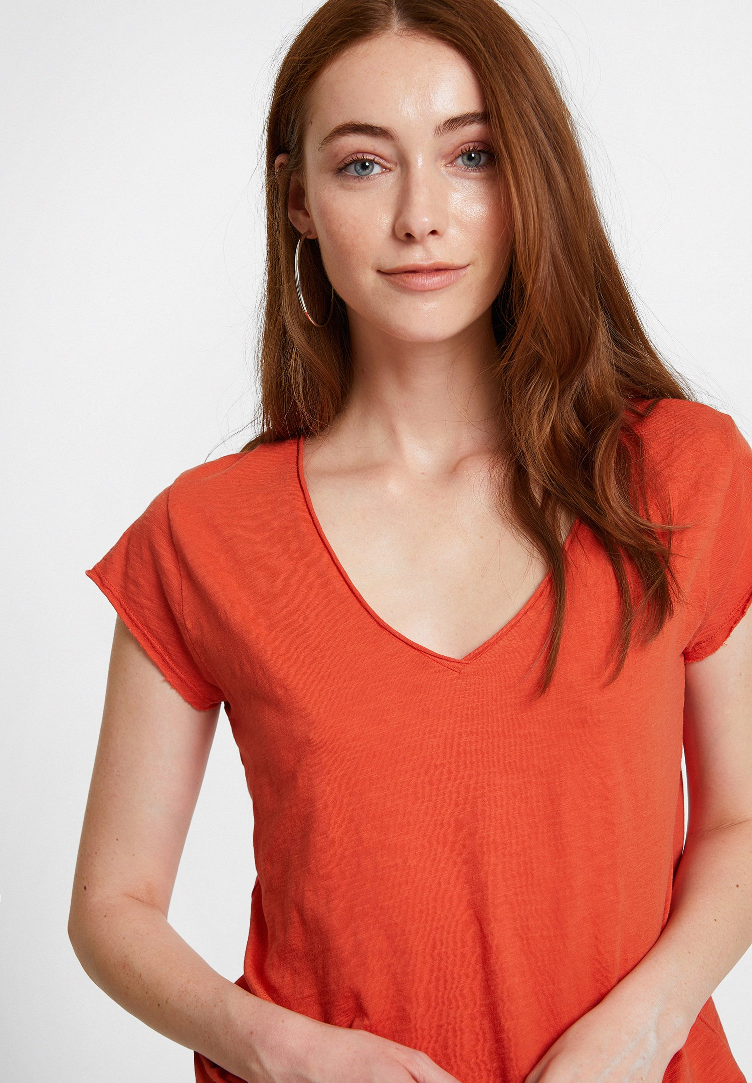 Bayan Turuncu Basic V Yaka Kısa Kollu Tişört