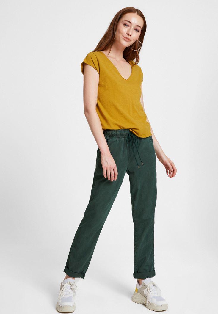 Yeşil Basic V Yaka Kısa Kollu Tişört