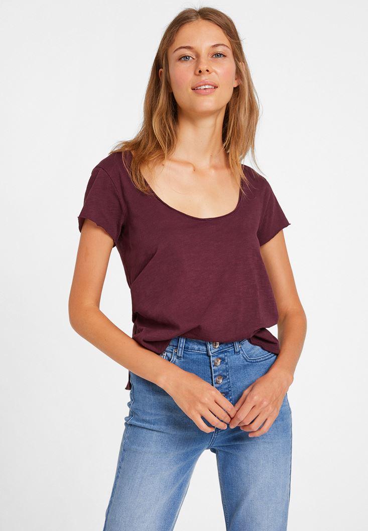Bordo U Yaka Detaylı Basic Tişört