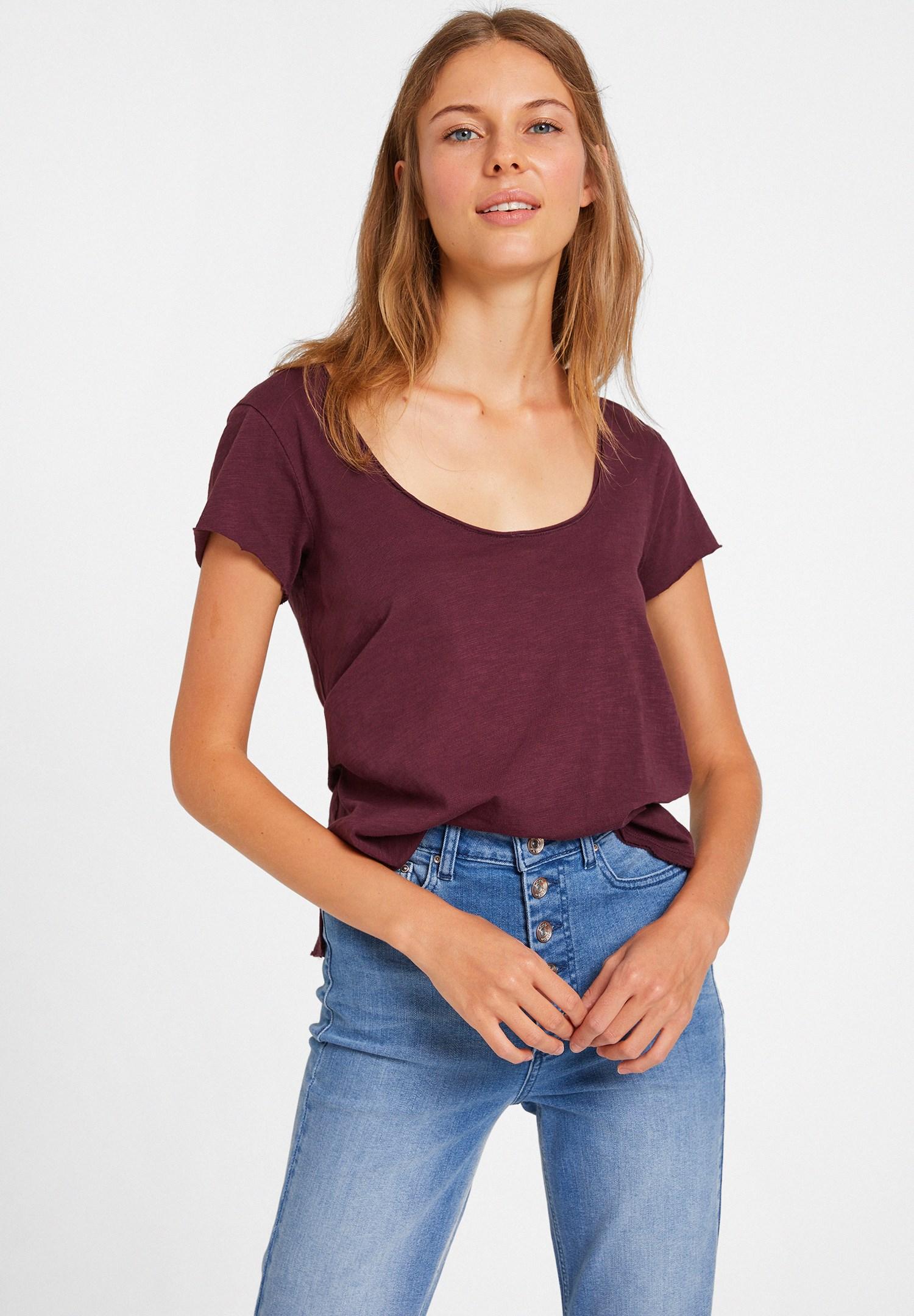 Bayan Bordo U Yaka Detaylı Basic Tişört