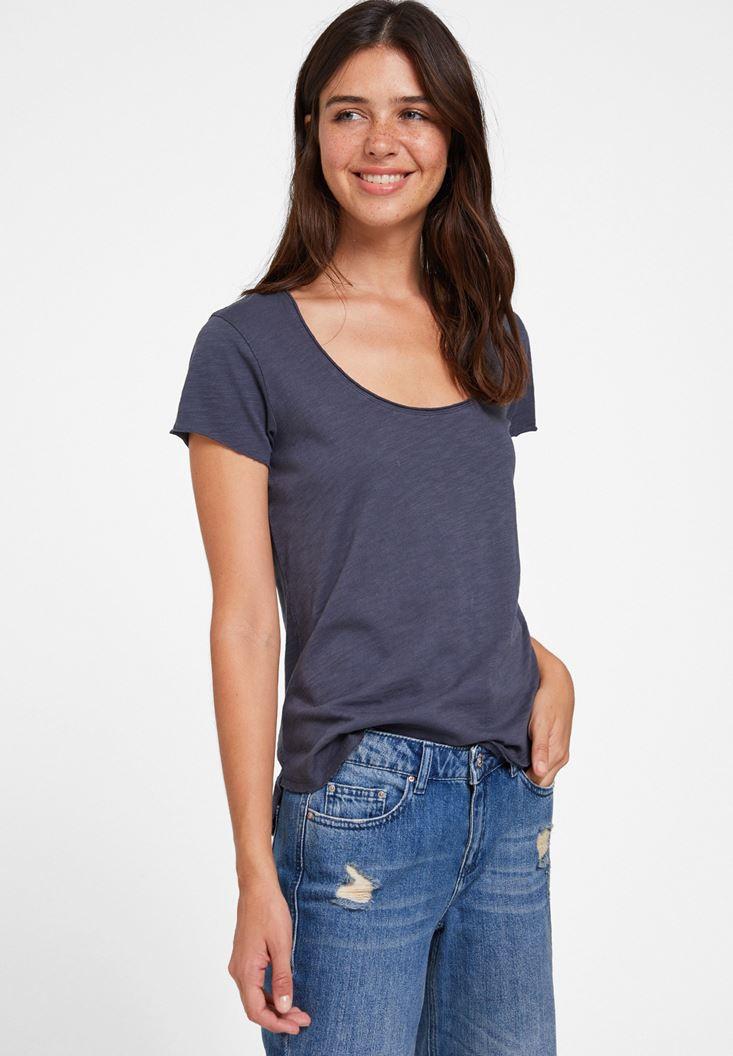 Gri U Yaka Detaylı Basic Tişört