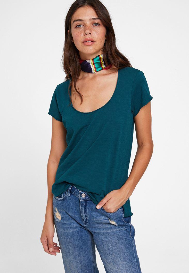 Yeşil U Yaka Detaylı Basic Tişört